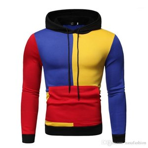 Contrast Color Printed Tops Casual Pullover Mens Clothing Winter Mens Designer Panelled Hoodies Fashion