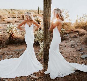 2019 Sexy Backless sereia vestidos de noiva simples projetado Correia de espaguetes apliques Sweep Trem Verão Boho Garden vestidos de noiva baratos