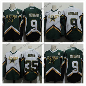 Hombres Dallas Stars # 9 Mike Modano 2005 Green White Vintage Jersey # 35 Marty Turco 2003 CCM Home Stitched Retro Hockey Jerseys Tamaño S-4XL