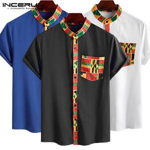 2020 camisa de los hombres del estilo étnico Impreso Streetwear Camisetas de manga corta del botón del collar del soporte de los hombres la ropa africana de Dashiki Camisa INCERUN