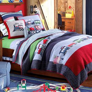 CHAUSUB Çocuklar Patchwork Quilt Seti 2PC Pamuk Yorgan El yapımı Yatak Örtüsü Yatak örtüleri için TREN Aplike Yatak Örtüsü Yastık çocuk Yatak SH190917