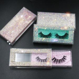diamant gros 25mm faux emballage boîte de cils faux cils de vison 3D rectangle boîtes cas acrylique fouette emballages vides
