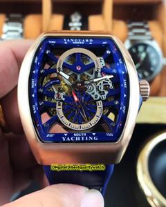 Version meilleure nouvelle Saratoge Vanguard S6 Yachting V45 S6 YACHT boîtier en acier Skeleton cadran bleu automatique Hommes bracelet en cuir Gents Montres