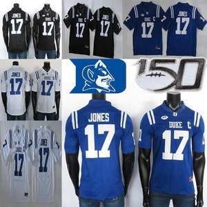 2019 NCAA Duke Blue Devils Formalar 17 Daniel Jones Jersey Mavi Siyah Beyaz Erkek Koleji Futbol Jersey Dikişli 150. Patc