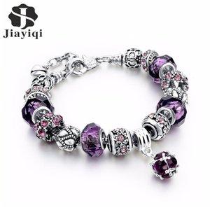 Jiayiqi 2020 Hot Trendy Purple Color Rhinestone DIY Beads Round Shape Charm Bracelets For Women Jewelry Lobster Clasp Type