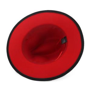Moda-Unisex Düz Brim Yün Erkekler Kadınlar İçin Bant Kırmızı Siyah Biçimsel Hat Panama Cap Trilby Chapeau ile Fedora Şapka Keçe