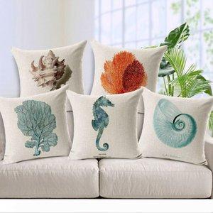 Cushion Cover Hippocampus Starfish Pillows Case Cotton Linen Capa Para Almofadas Nautical Style Hand Painted Decorative Pillow Cover