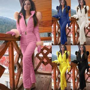 Mujer moda casual grueso snowboard snowboard skisuit deportes al aire libre cremallera traje de esquí