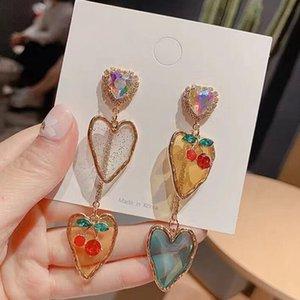 MENGJIQIAO New Korean Elegant Acrylic Heart Cherry Drop Earrings For Women Girls Shiny Crystal Holiday Pendientes Mujer Moda