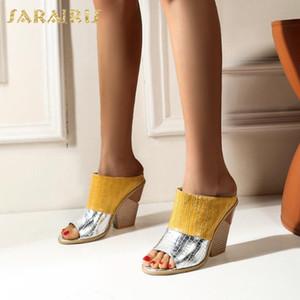 Sarairis 2020 New Fashion Dropship Wedge High Heels Summer Pumps Mules Slip On Peep Toe Mixed Colors Outside Shoes Women Pumps