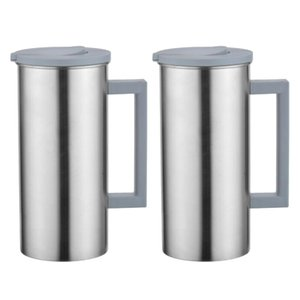 2-Pack of 1.8L 61-Ounce Stainless Steel Jug Pitcher Water Juice Bottle for Kitchen Restaurant