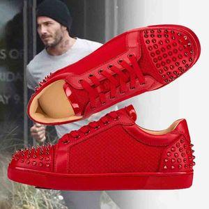 Zapatos de suela roja con punta de marca italiana Ac Seavaste 2 Flat Red Bottom Junior Spikes Studded Street Style Plain Handmade Sneakers Trainers Wholesal