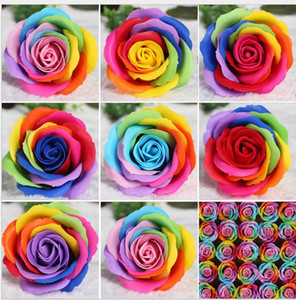 8CM Rainbow 7 colorful Rose Soaps Flower Packed Wedding Supplies Gifts Event Party Goods Favor Toilet soap Scented bathroom accessories