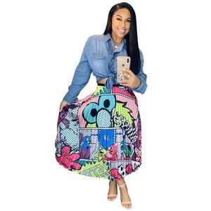 Les femmes élégantes Graffiti Jupes plissées été Cartoon Imprimé élastique taille haute accordéon en vrac Casual A-ligne Balancez Jupe mi-longue