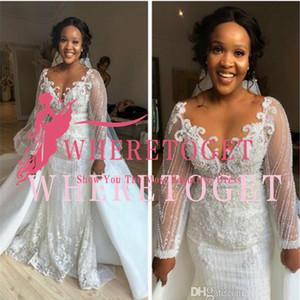 2019 Arabic Luxurious Mermaid Sexy Wedding Dresses Sheer Neck Lace Beaded Bridal Dresses Long Sleeves Wedding Gowns