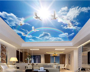 3D Wallpaper Wallpaper Camera personalizzato Foto Blue Sky White Dove Colorful Rainbow Soggiorno Camera da letto Zenth Decoration murale