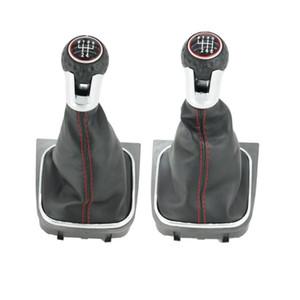Para VW Scirocco 2009 2010 2011 2012 2013 2014 Coche 5/6 TA de la velocidad del engranaje palanca de cambios con cuero polaina de la línea roja de arranque