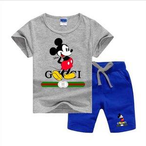 Bebek bebek çocuk tasarımcı kıyafetleri Küçük Çocuklar Erkekler Kızlar Saf Pamuk Harf Baskı Logo Yaz Setleri setleri / 2-7T Çocuk 2PCS ayarlar