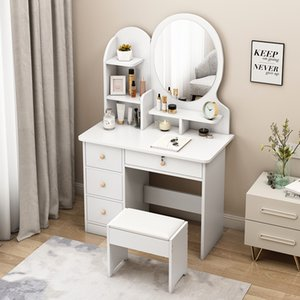 Drawer Vanity Table Set Dressing Table with Cushioned Stool Bedroom Makeup Table