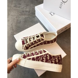 Dior shoes Mujer de primavera y otoño del zapato planos ocasionales lona de la manera bordado zapatilla de deporte zapatos de moda