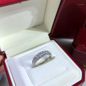 Anelli di nozze Anello dei gioielli di fidanzamento per le donne S925 Placcato argento Diamond Banquet Party