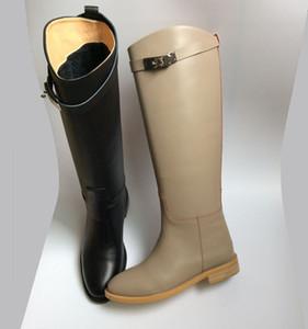 Hot Sale-migliore qualità! consegna gratuita! u503 40/41/42 vera pelle fibbia stivali alti al ginocchio h nero di lusso classico grigio celeb disinfestazione piatta