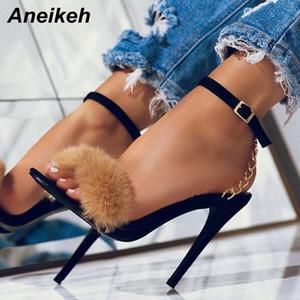 Aneikeh 2020 Sweet Moda Sandalet Kadın Ayakkabı Villi Zinciri İnce Yüksek Topuklar Yuvarlak Toed Gelinlik Bilek Toka Kayış Siyah 42 T200519