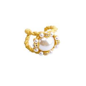 New Fashion Elegante Mulheres Meninas bonitas Simulado Pérola Anéis ajustáveis com metal de flor geométrico Bolas para festa de jóias da menina na moda