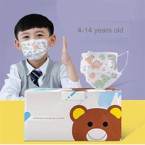 DHL Einweg Kinder Gesichtsmaske 3 Schichten Antistaub Kinder Stil Mundmaske Kohlefilter Winddichtes Mund Muffel
