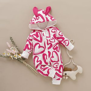 2019 Winter Baby Rompers Girls Coat Love Heart Print Infant Clothing Romper Newborn Kids Clothes Down Jumpsuit Set