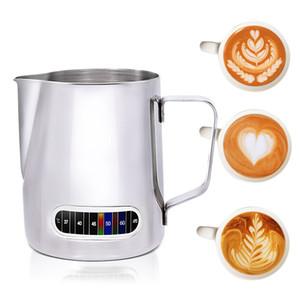 Milk Frothing Jug com built-in termômetro de aço inoxidável Creamer Frothing Pitcher 20 Oz (600 ml) Espresso Coffee Latte Pots Ferramenta