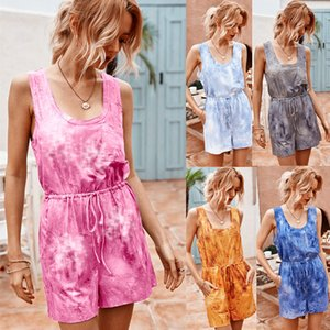 Summer Casual Shorts Jumpsuits Printing Sleeveless U Neck Elastic Waist +Sash Loose Leisure Playsuits for Daily Stay-home 2020