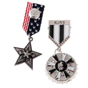 2 Pcs Army Uniform Medal Badge Brooch Pin Ribbon KING Star Brooch Gothic