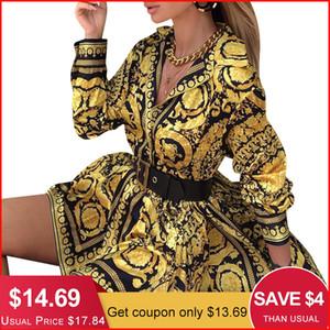 Glamaker Sexy Paisley Do Vintage Impressão Vestido de Ouro Mulheres de Férias de Praia Vestido Curto Verão Elegante Clube de festa Vestido Tamanho Grande Robe MX19070307