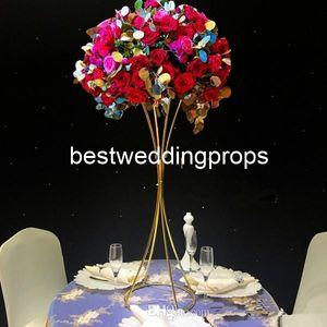 Stander de oro de la nueva decoración de la tabla de la novia y del novio de la boda del estilo para la decoración best0855 del acontecimiento