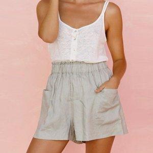 Sommer-Frauen reine Farben-elastischer Baumwolle Leinen lose kurze beiläufige Damen High Waist Taschen-Außen Startseite Shorts Plus Size # p3