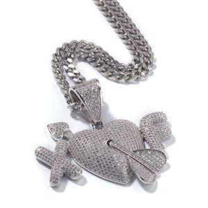 2 lettere cuore su ordinazione delle coppie dell'amante della collana dei pendenti di Hip Hop CZ pietra Bling fuori ghiacciato degli uomini di Hip Hop Rapper Silver Jewelry