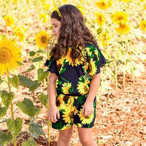 Девушки мода подсолнечника печати ползунки дети девушка летающий рукав случайные комбинезоны дети цветок печатных одежда RRA561