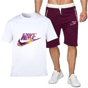 Trilha dos homens Suit Set Summedesigner Brar dois equipamentos Piece Set Masculino T-shirt Shorts Training Treino Mens Lazer Fitness Corredores SportswearO