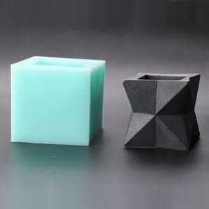 SN0034 3D vase Cement pot molds flower pot geometric shape silicone mold handmade succulent concrete mould aroma stone moulds T191018