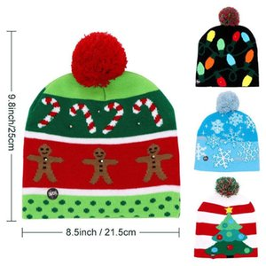 2020 LED Light Christmas Tree Protective Christmas Hat Led Cap Beanie Festival Winter Cap Warm