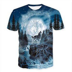 Hombres t-Camisa nuevos lobo de impresión 3D camisetas de los hombres camisetas animal de la novedad remata tes Hombre de manga corta de verano O-Cuello de las camisetas