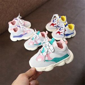 2018 Sonbahar Kız Bebek Boy Yürüyor Bebek Casual Ayakkabı Koşu Yumuşak Alt Rahat Dikiş Renk Çocuk Sneaker