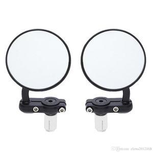 2 개 범용 오토바이 거울 알루미늄 블랙 22mm 바 끝 사이드 사이드 미러 자동차 액세서리 핸들