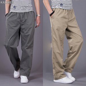 TOP Spring loose casual pants male plus size loose Elastic Waist straight tooling male cotton long trousers L-6XL