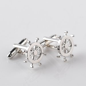 Copper Silver Boat Rudder Cufflinks French Style Designer Business Men Shirt Cuff Links Fashion Suit Dress Accessories Gift