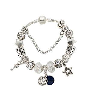 Новый браслет Европейский американский стиль Big Star Moon подвеска белый кристалл бусы Мода ювелирные изделия для женщин Singles