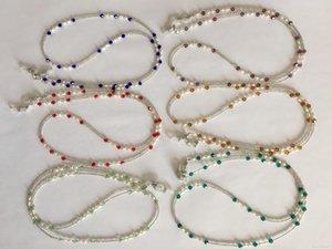 6 adet / çok tatlı su inci ve cam boncuk gözlük kolye zinciri tespit tutucu renkli Karışık