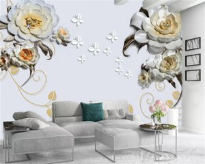 Wallpaper 3d Simple and Elegant 3d Embossed Delicate Flowers Custom European Style Digital Printing Moisture-proof Wall paper