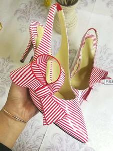 Date style printemps été Lidies bowtie stiletto sandales à talons élastiques chaussures simples talon haut chaussures simples femmes sandales sexy